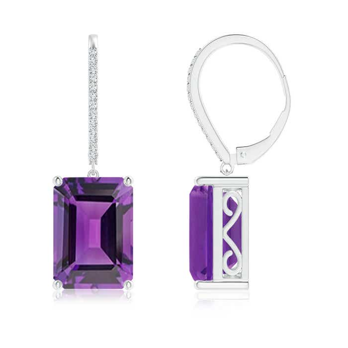 Angara Emerald-Cut Amethyst Cocktail Earrings in Rose Gold