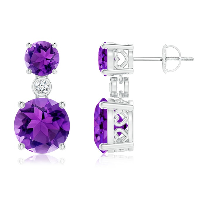 Angara Rope Framed Claw-Set Amethyst Double-Drop Earrings EXLOHbC