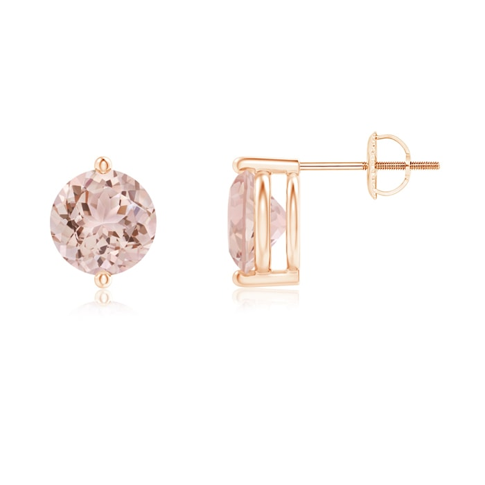 Angara Unique Two Prong-Set Morganite Solitaire Earrings XABYh