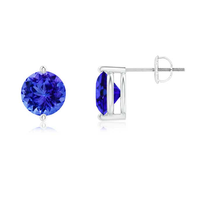 Angara Prong Set Round Tanzanite Stud Earrings in White Gold bmjMM80IBs