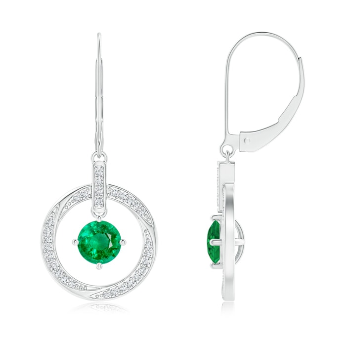 Angara Solitaire Emerald Open Heart Studs with Diamonds 9hOjYNVX