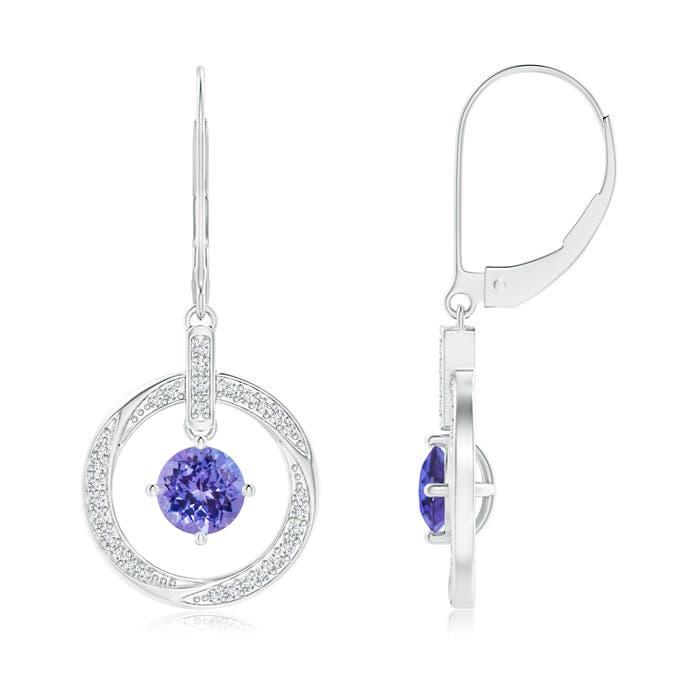 Angara Tanzanite Open Circle Drop Earrings with Diamond Accents 6h7sfuuf