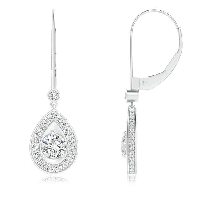Angara Round Diamond Lattice Drop Hoop Earrings OpvombqNC