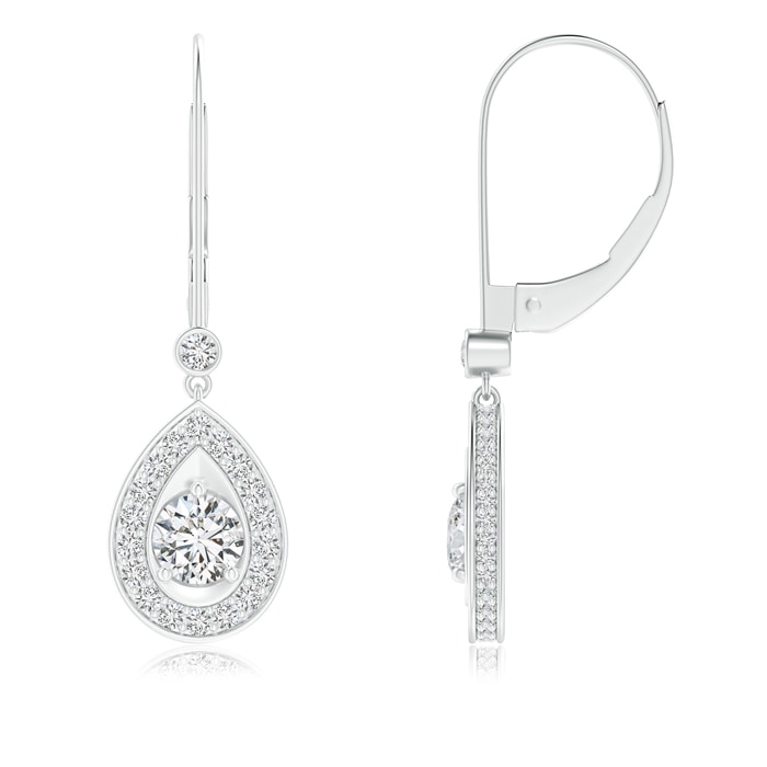 Angara Floating Drop Diamond Halo Leverback Earrings VhxBajYmzT