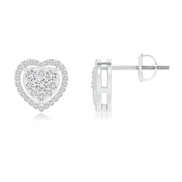 Angara Round Cluster Diamond Open Heart Stud Earrings NAxfr