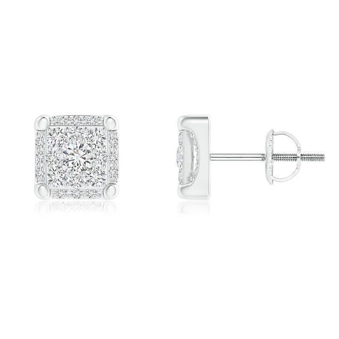 Angara Square Composite Diamond Halo Stud Earrings PxY5Rb