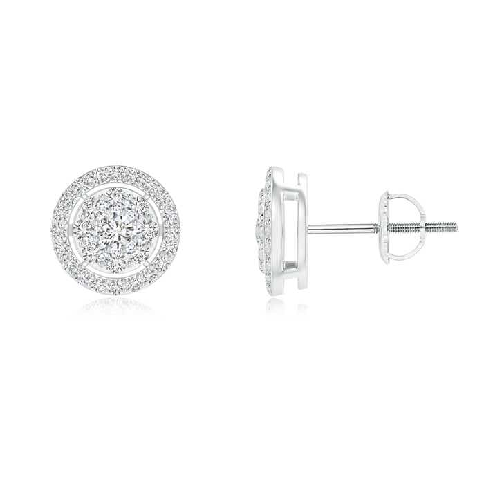 Angara Floating Round Cluster Diamond Halo Stud Earrings UCgOA