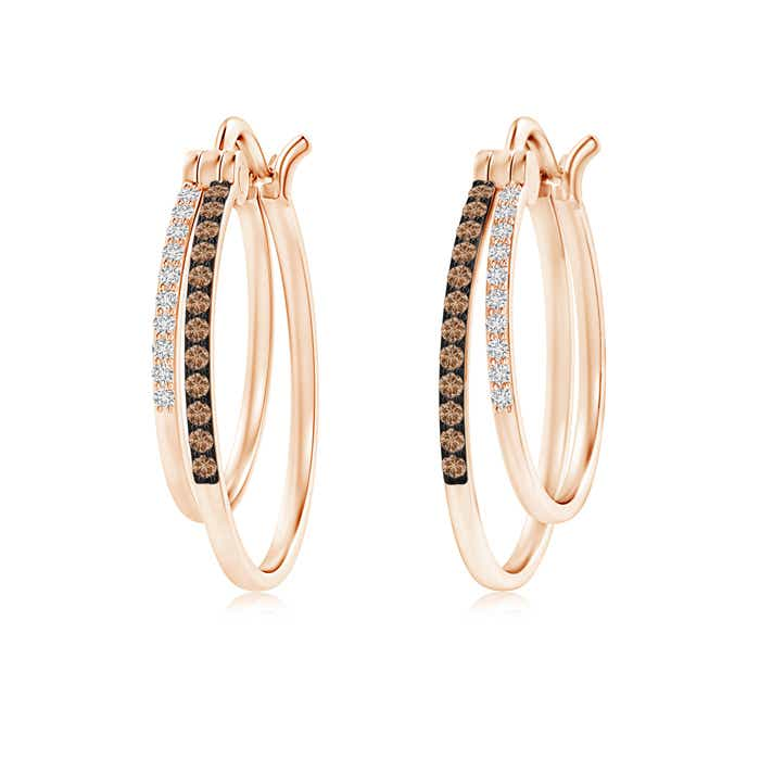 Angara Brown Diamond Hoop Earrings with Pave Setting in Platinum 2luah4uK