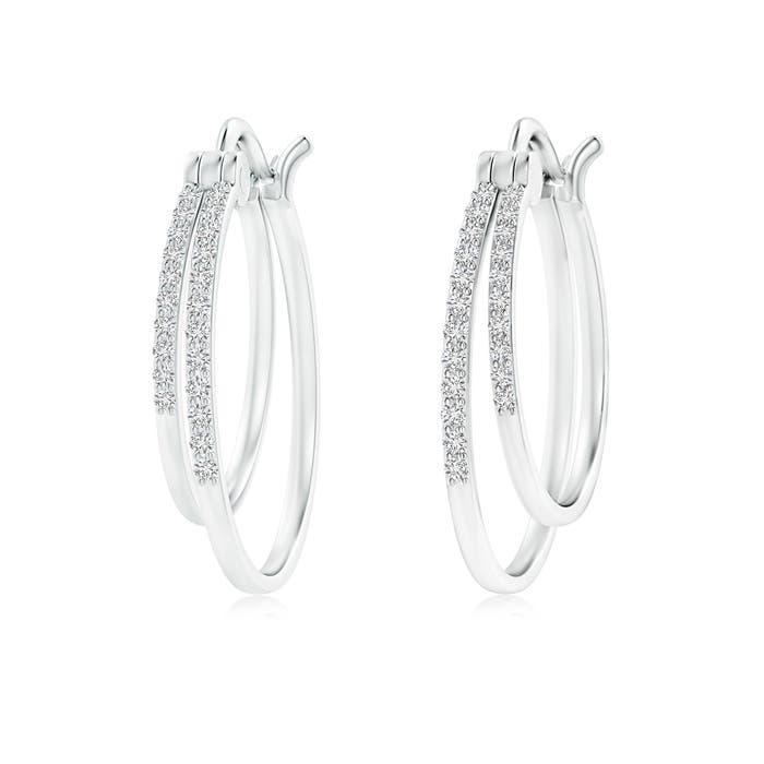 Angara Floating Diamond Inside Out Hoop Earrings in White Gold XmQkmfQi