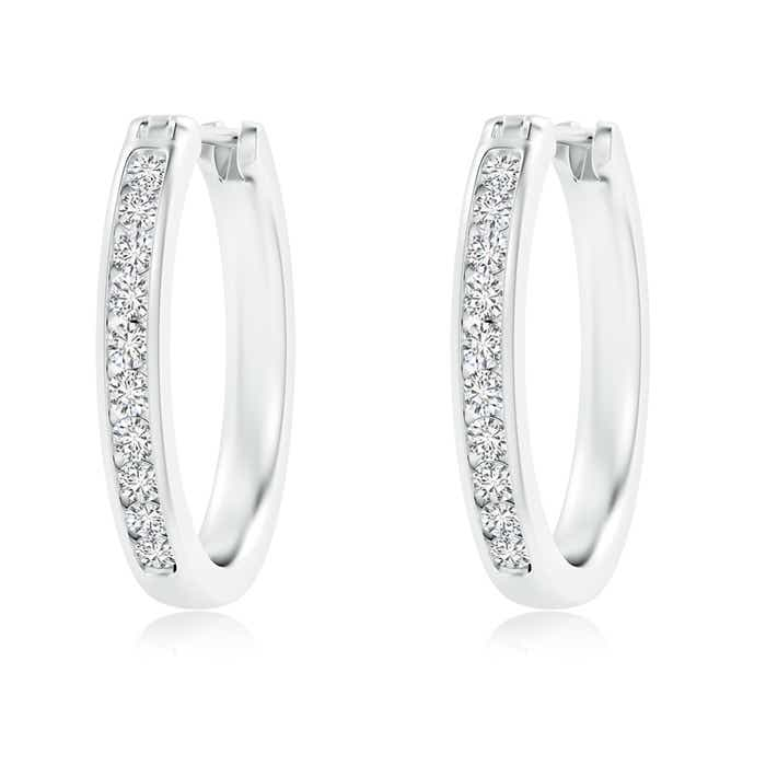 Angara Floating Diamond Inside Out Hoop Earrings in Platinum bR7M6PPrv
