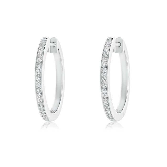 Angara Pave-Set Diamond Hinged Hoop Earrings in Yellow Gold