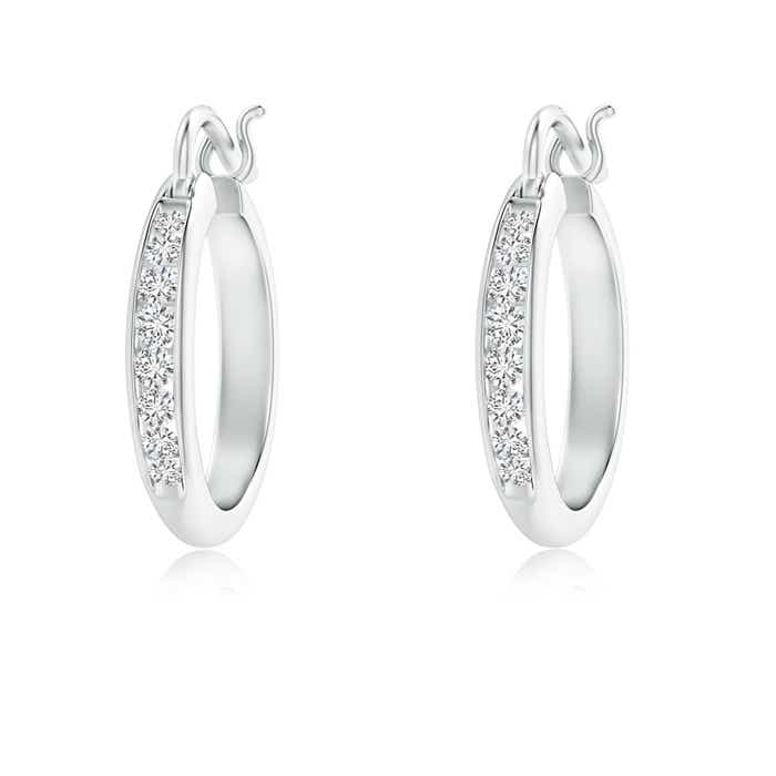 Angara Diamond Hoop Earrings in White Gold