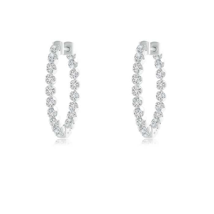 Angara Floating Diamond Hoop Earrings in White Gold