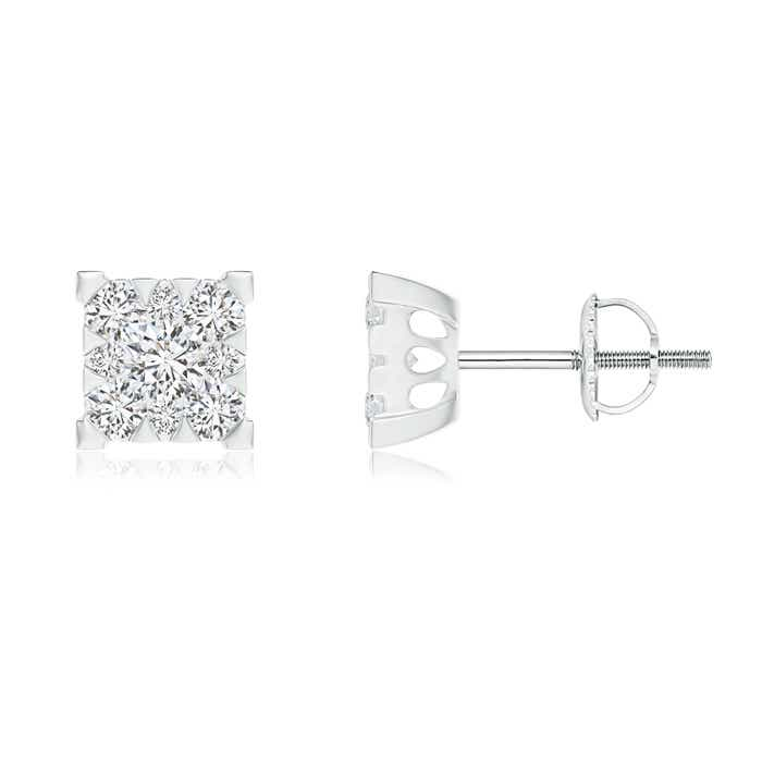Angara Pressure-Set Round Diamond Square Cluster Stud Earrings UVhrLQXurK