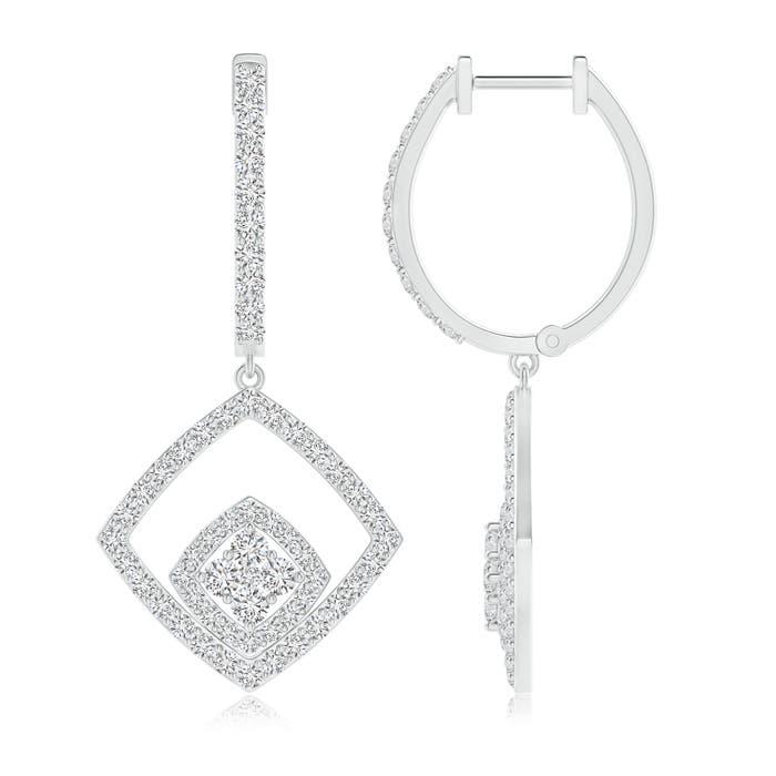 Angara Round Diamond Lattice Drop Hoop Earrings xCN1nQ