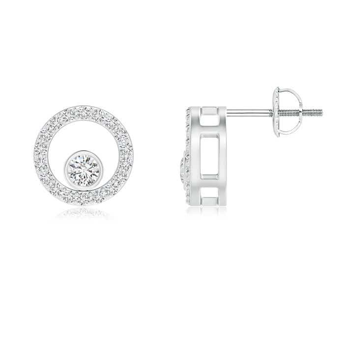 Angara Round Diamond Floral Circle Stud Earrings HzDYiBQBSC