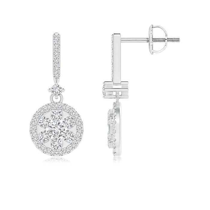 Angara Round Cluster Diamond Halo Circle Drop Earrings z00C7n
