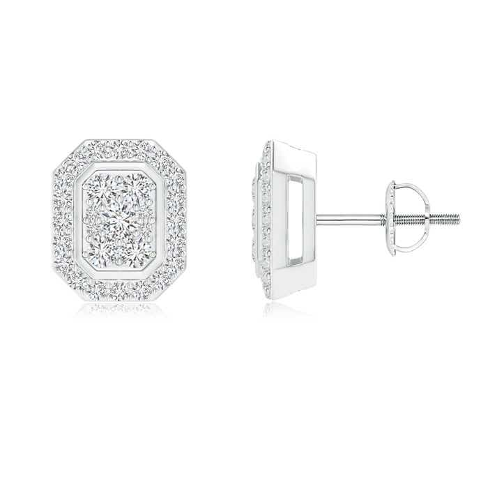 Angara Pressure-Set Round Diamond Square Cluster Stud Earrings 67ICb0