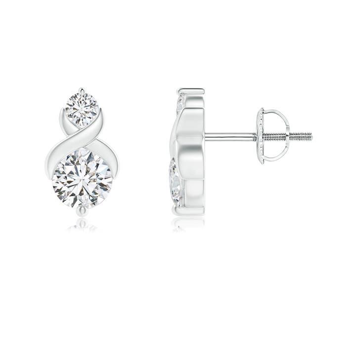Angara Two Stone Diamond Stud Earrings in White Gold lekeD