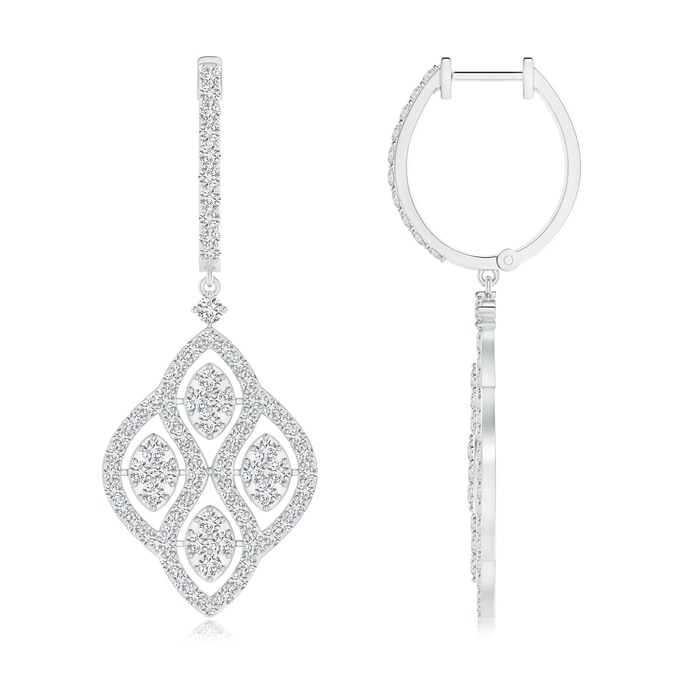 Angara Round Diamond Lattice Drop Hoop Earrings TNQfv