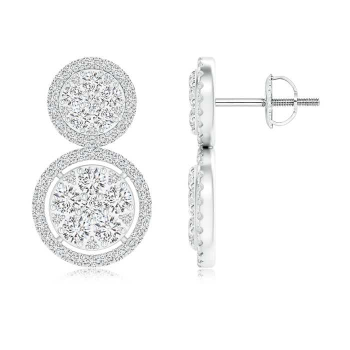 Angara Two-Tier Diamond Cluster Halo Stud Earrings