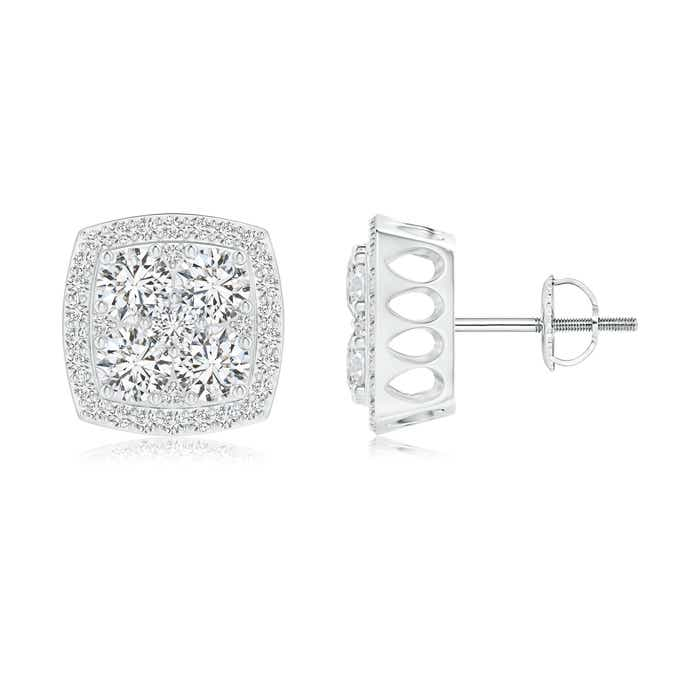Angara 3 Prong Pink Tourmaline Stud Earrings in Platinum XQj5v