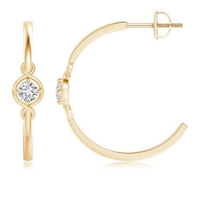 Angara Triple Round Diamond Halo J-Hoop Earrings rL1FBCe