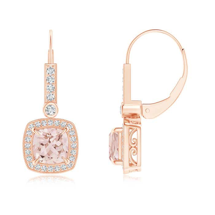 Angara Rose Gold Morganite Leverback Earrings rVzEXQ