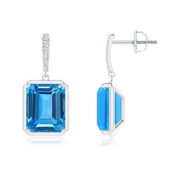 Angara Emerald-Cut Swiss Blue Topaz Cocktail Stud Earrings Vmj8zPL6UQ
