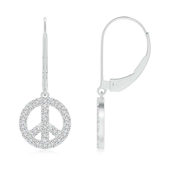 Angara Diamond Peace Sign Leverback Earrings BevuYjFEnr