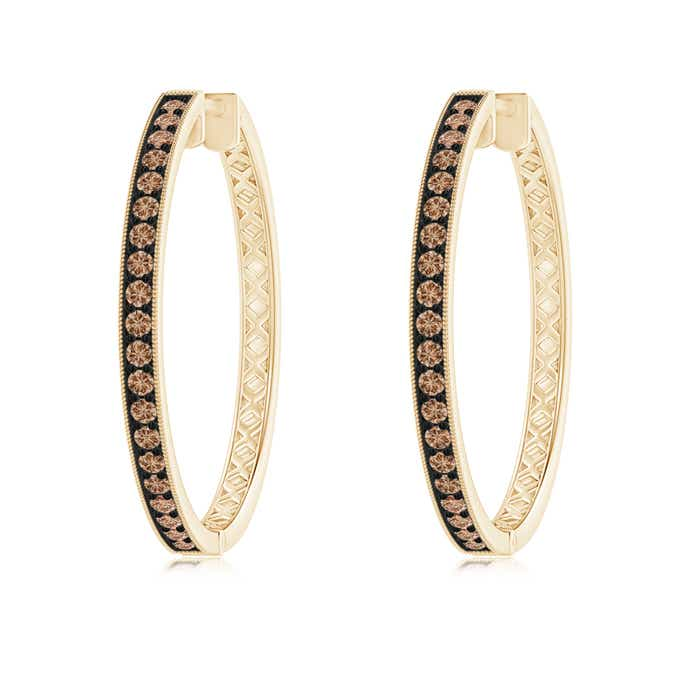 Angara Brown Diamond Hoop Earrings with Pave Setting in Rose Gold e3If8Cs2N3