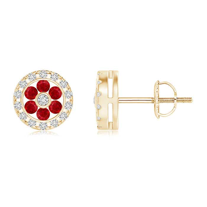 Angara Channel-Set Ruby Flower Studs with Diamond Halo