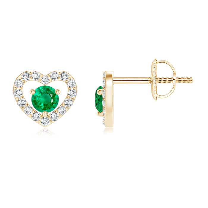 Angara 14k Yellow Gold Solitaire Heart Emerald Drop Earrings 9meVk3I7