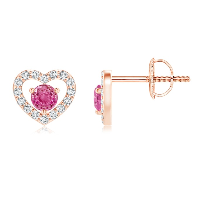 Angara Diamond Halo Pink Sapphire Vintage Style Studs in Yellow Gold