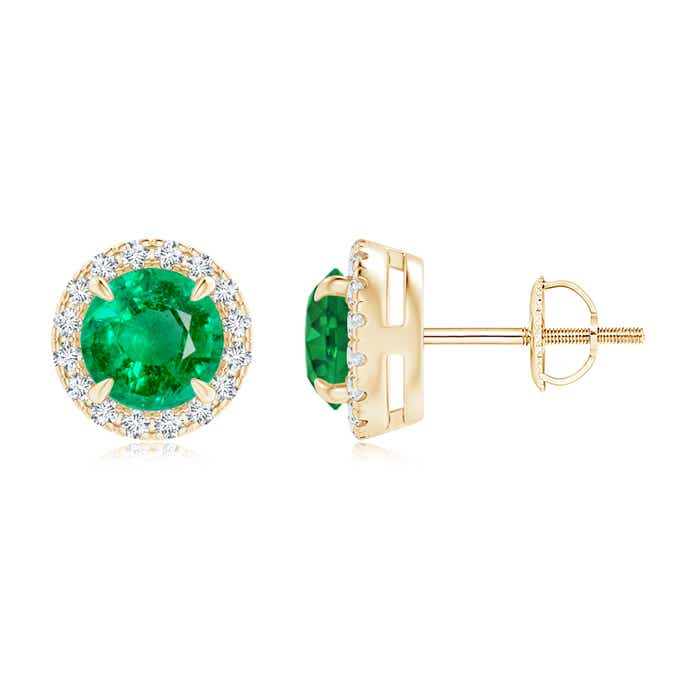 Angara Diamond Halo Emerald Stud Earrings in Yellow Gold X5RttuBM