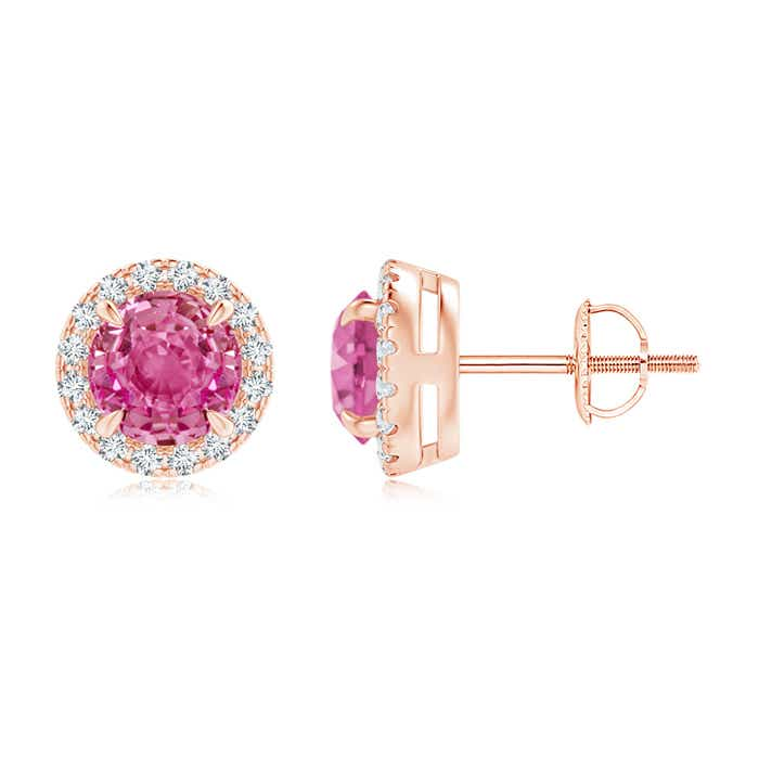 Angara Round Pink Sapphire Stud Earrings in Rose Gold rm6X4Oahjy
