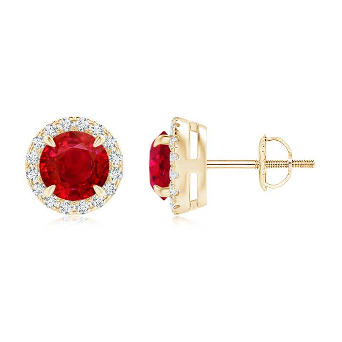 Angara Round Ruby and Diamond Halo Stud Earrings