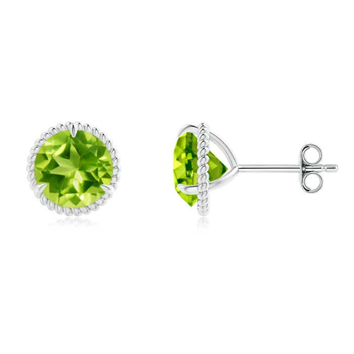 Angara Oval Peridot Stud Earrings in Yellow Gold tHFgIggct