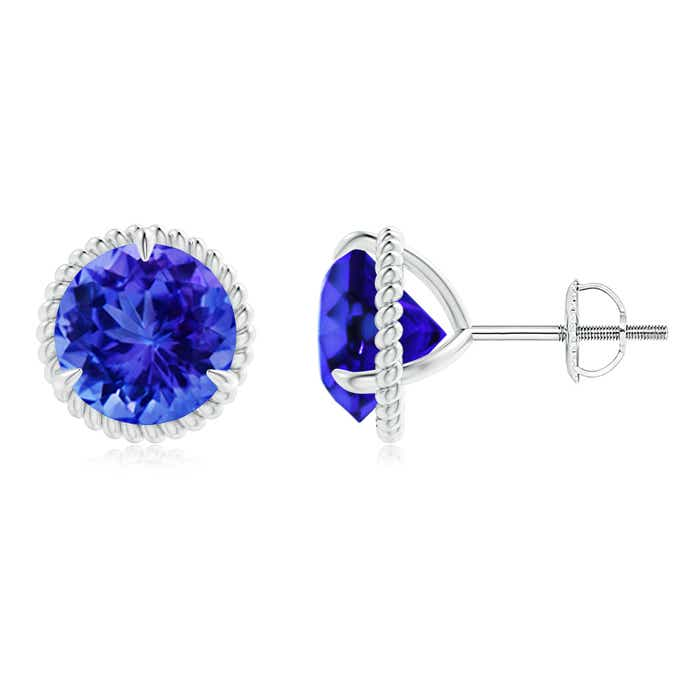 Angara Rope Framed Claw-Set Tanzanite Martini Stud Earrings SjiyzcXF