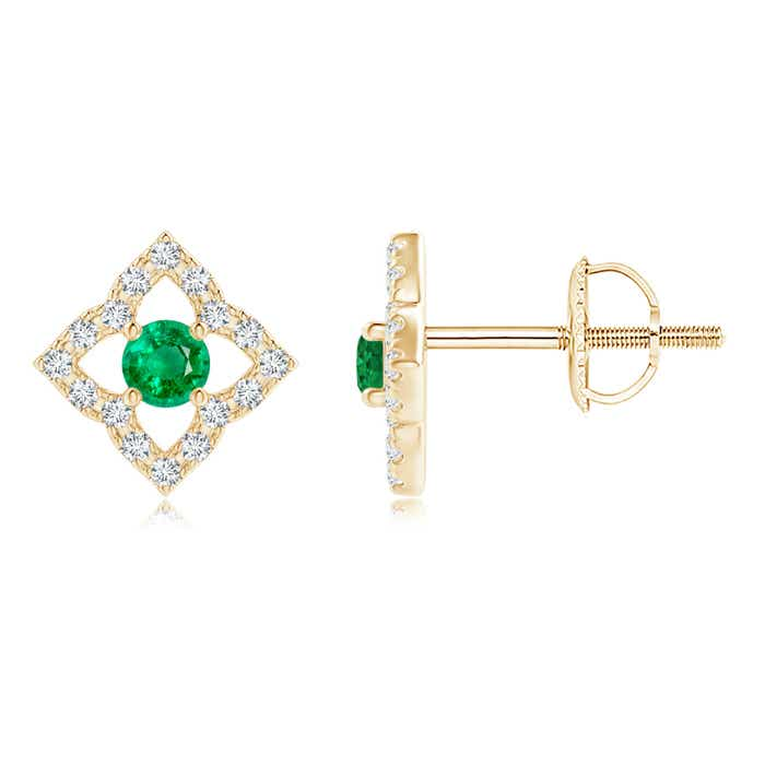 Angara Emerald Butterfly Stud Earrings in Yellow Gold iAbdtGXroE