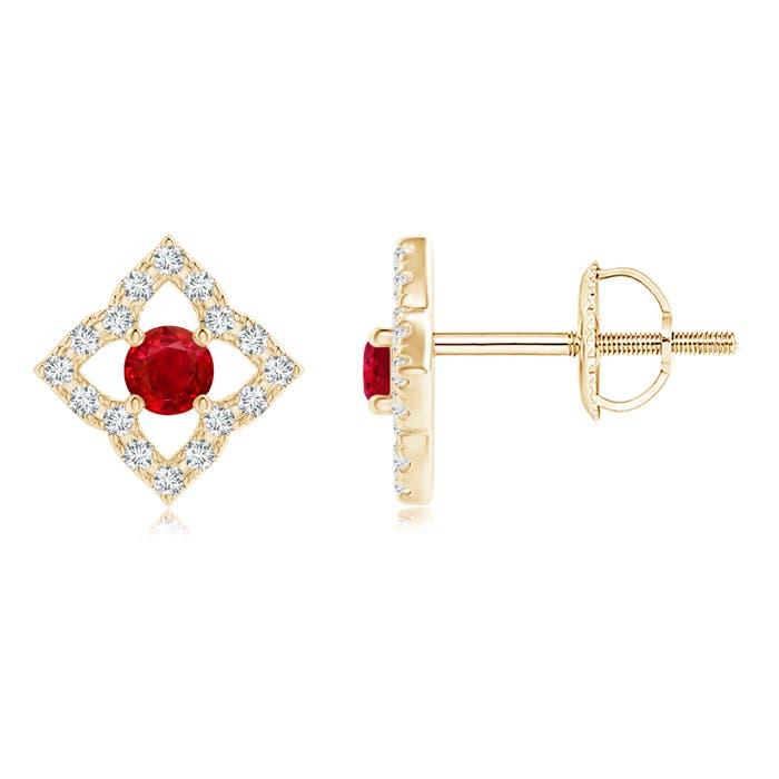 Angara Pear-Shaped Ruby Clover Stud Earrings with Diamonds qF9ehwl
