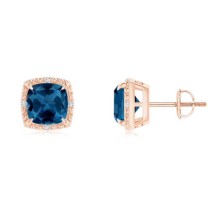 Angara Cushion London Blue Topaz Halo Stud Earrings