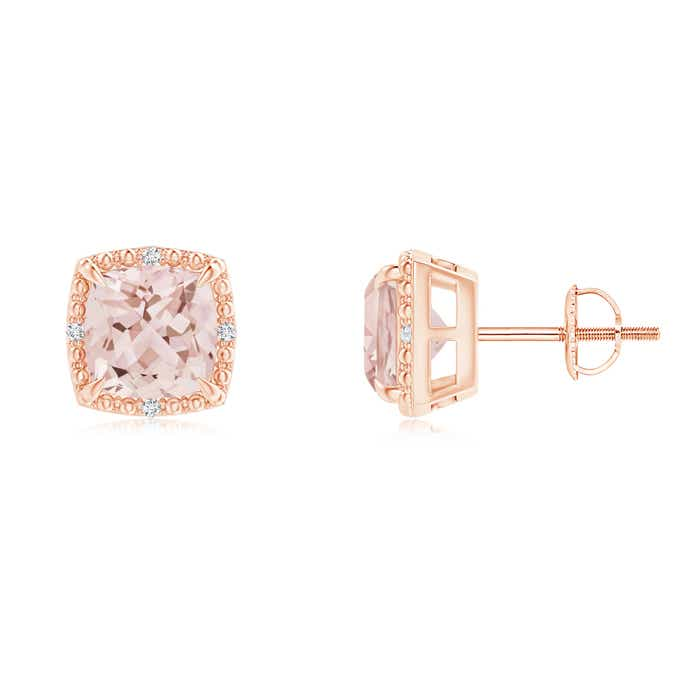 Angara Cocktail Morganite Earrings in Yellow Gold