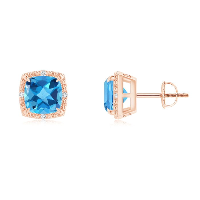 Angara Claw-Set Swiss Blue Topaz and Diamond Cushion Halo Stud Earrings T1yT1