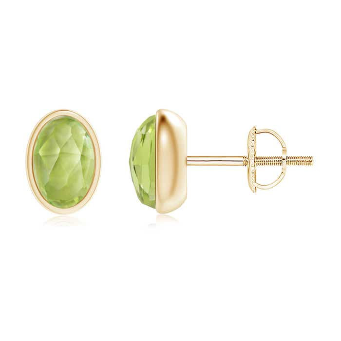 Angara Oval Peridot and Diamond Shell Stud Earrings 8SSRyS7U