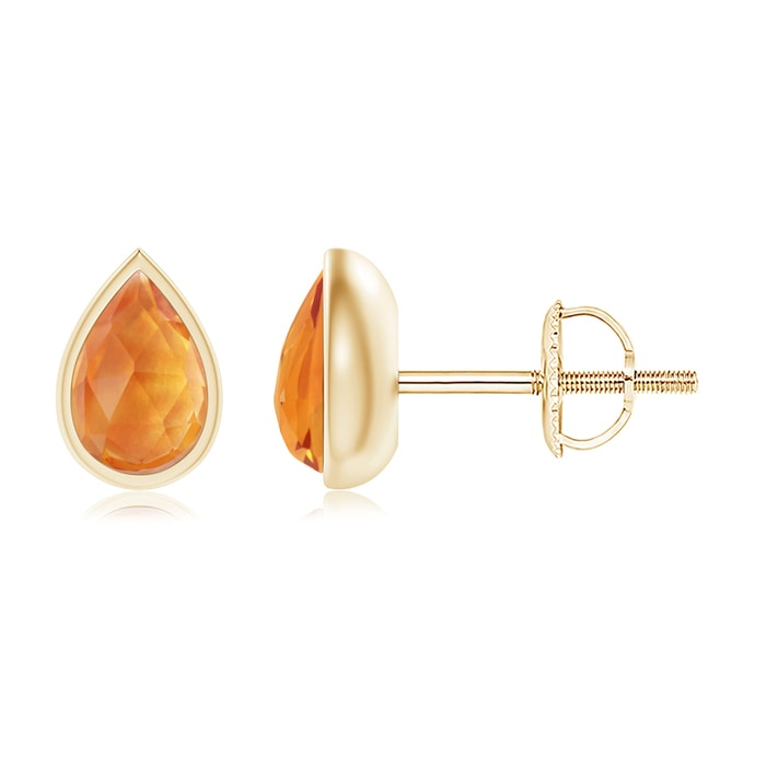 Angara Pear-Shaped Citrine Stud Earrings with Diamond Halo CvWhSv