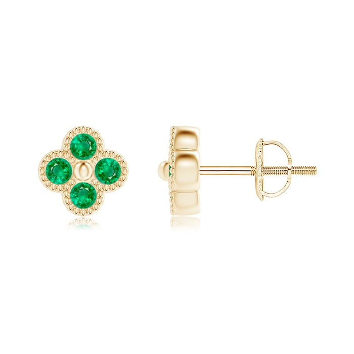 Angara Pear-Shaped Emerald Clover Stud Earrings with Diamonds RtLcZjp9V7