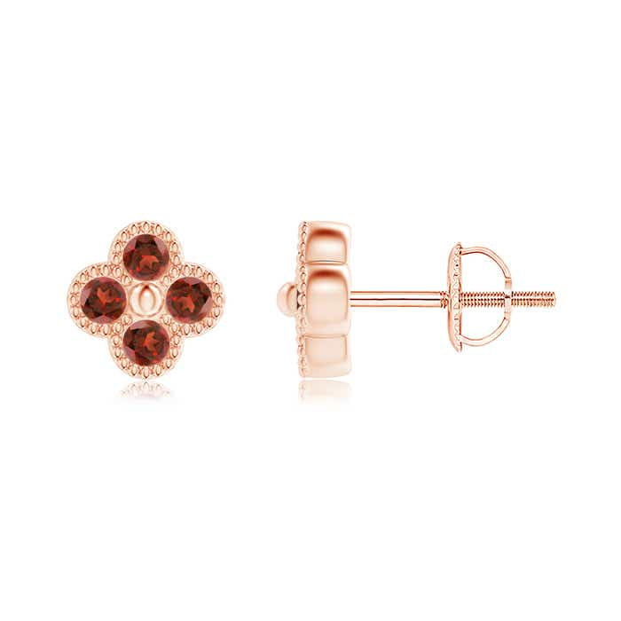 Angara Solitaire Square Garnet Clover Earrings khsFJvzb