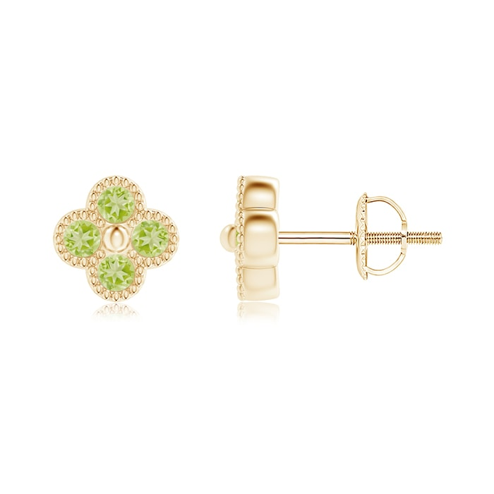 Angara Peridot Stud Earrings in Rose Gold ldmMc