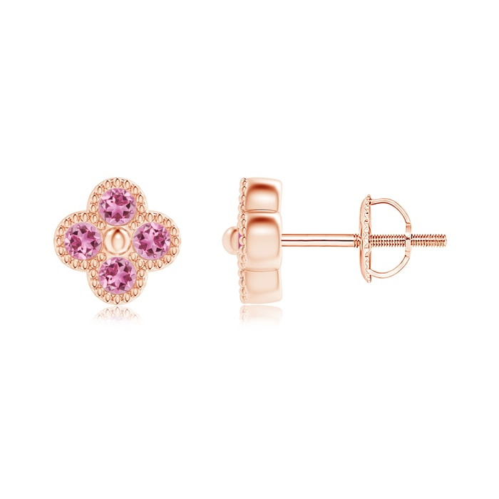 Angara Round Pink Tourmaline Diamond Stud Earrings in Rose Gold aeakdZN9Vy